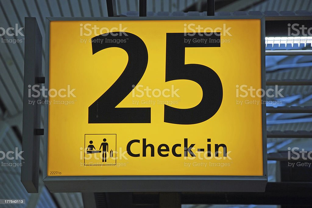 Check-in sign showing gate royalty-free stock photo