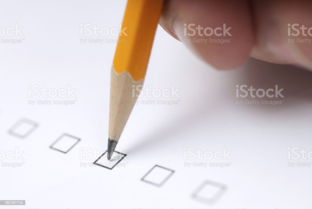 Checking a check box royalty-free stock photo