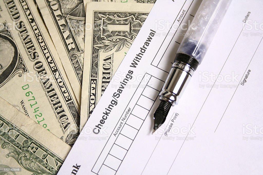 Checking and saving Withdrawal royalty-free stock photo