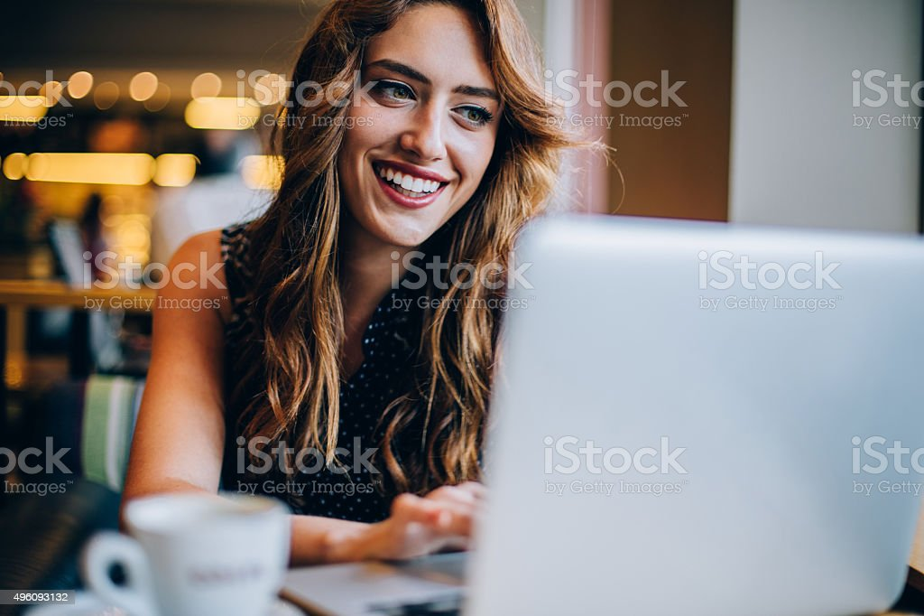 Checking at internet stock photo