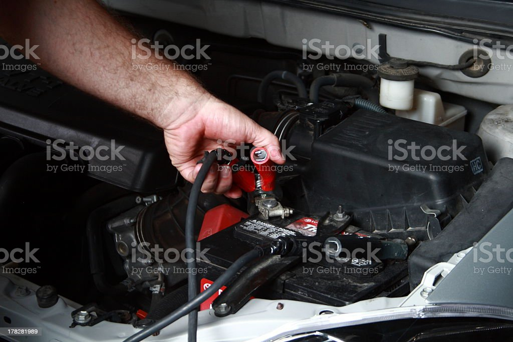 Checking battery connections stock photo