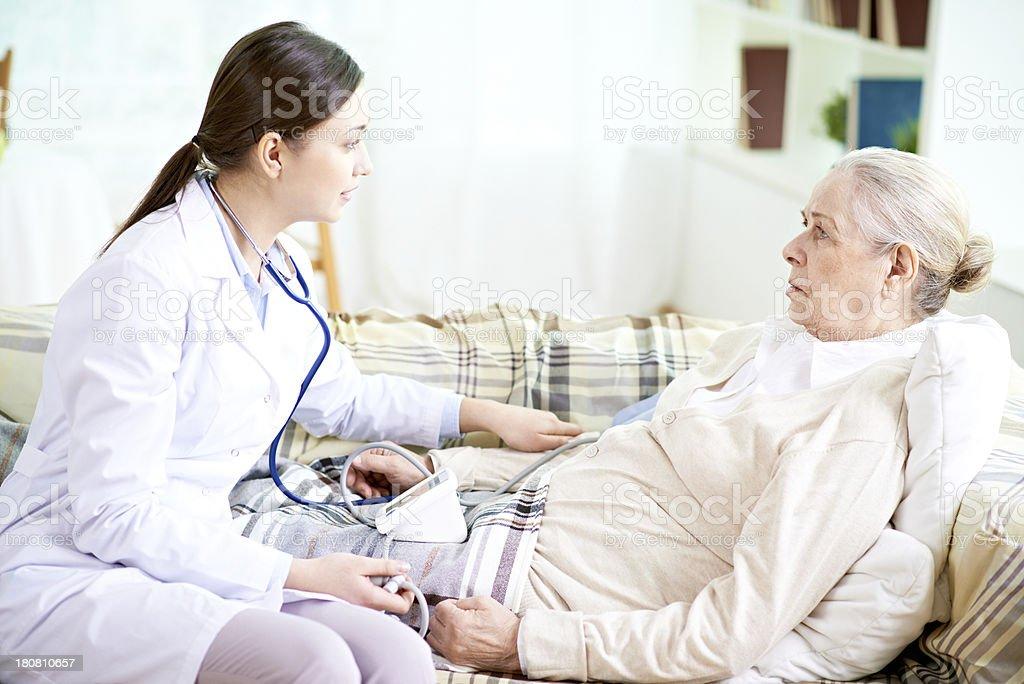 Checking blood pressure stock photo