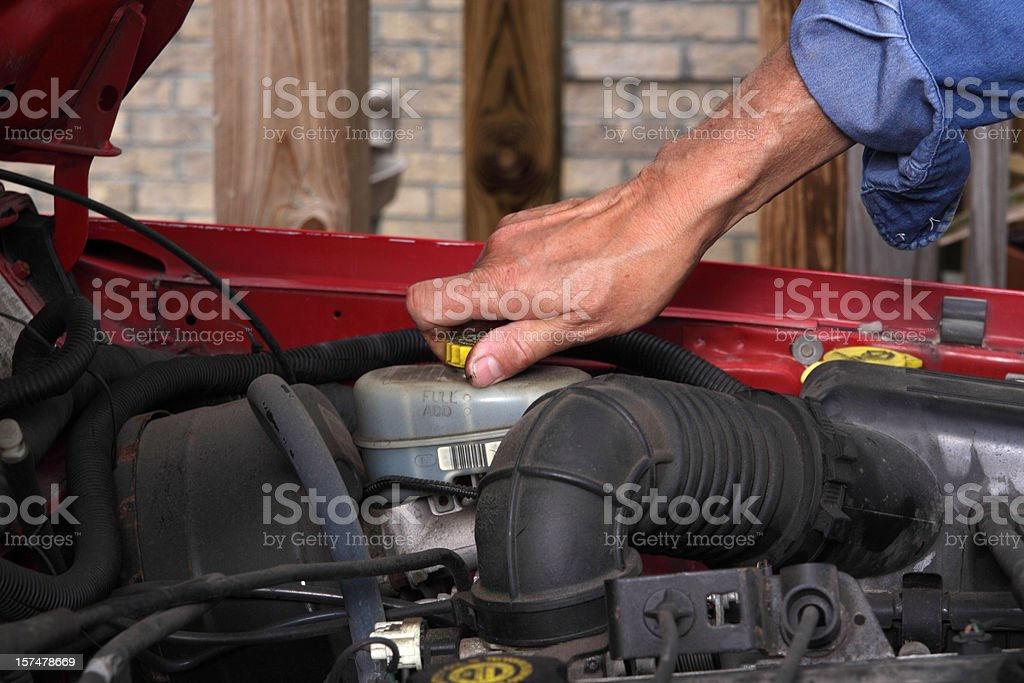 Checking Brake Fluid stock photo