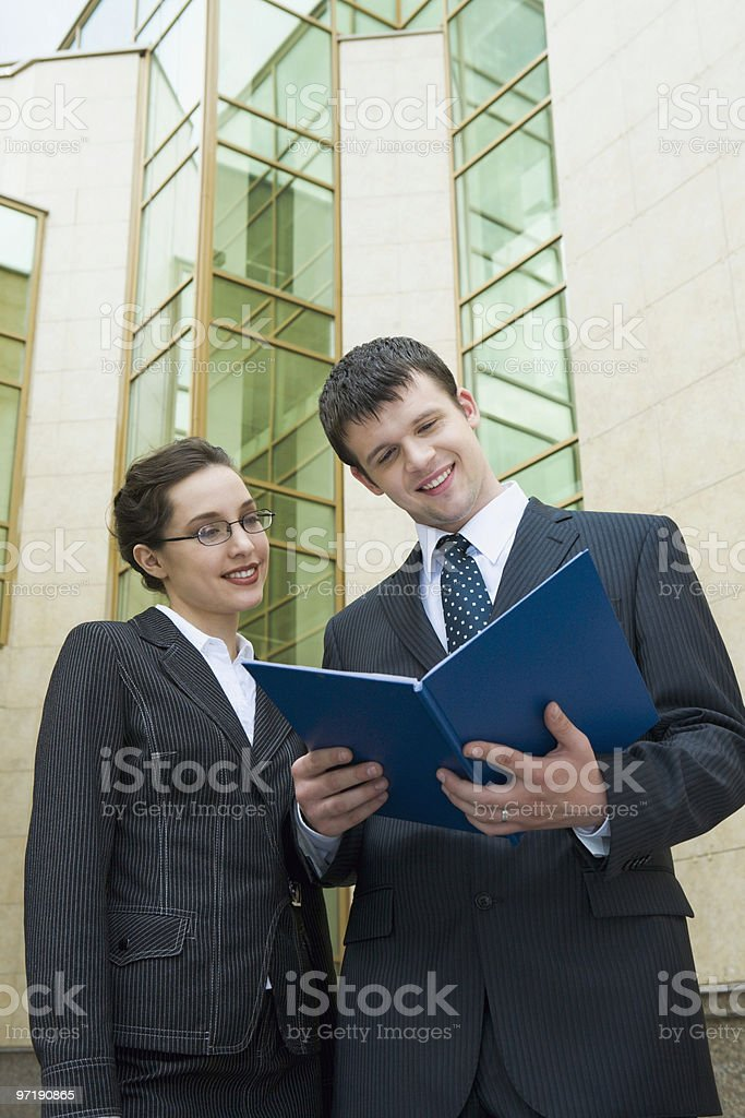 Checking business plan royalty-free stock photo
