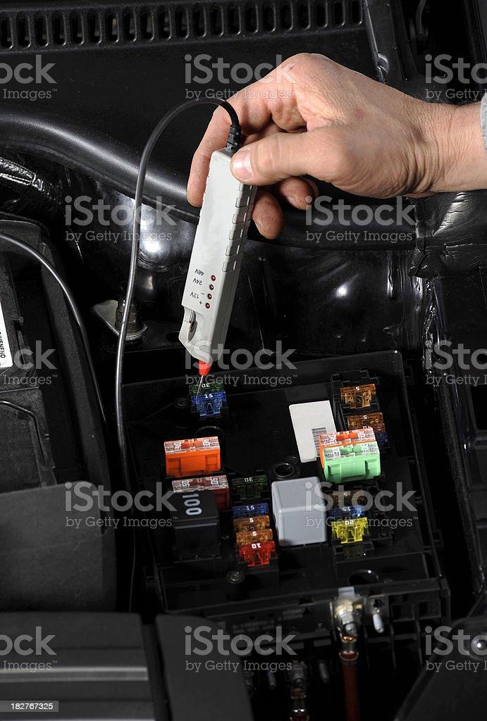 Checking Car Battery royalty-free stock photo
