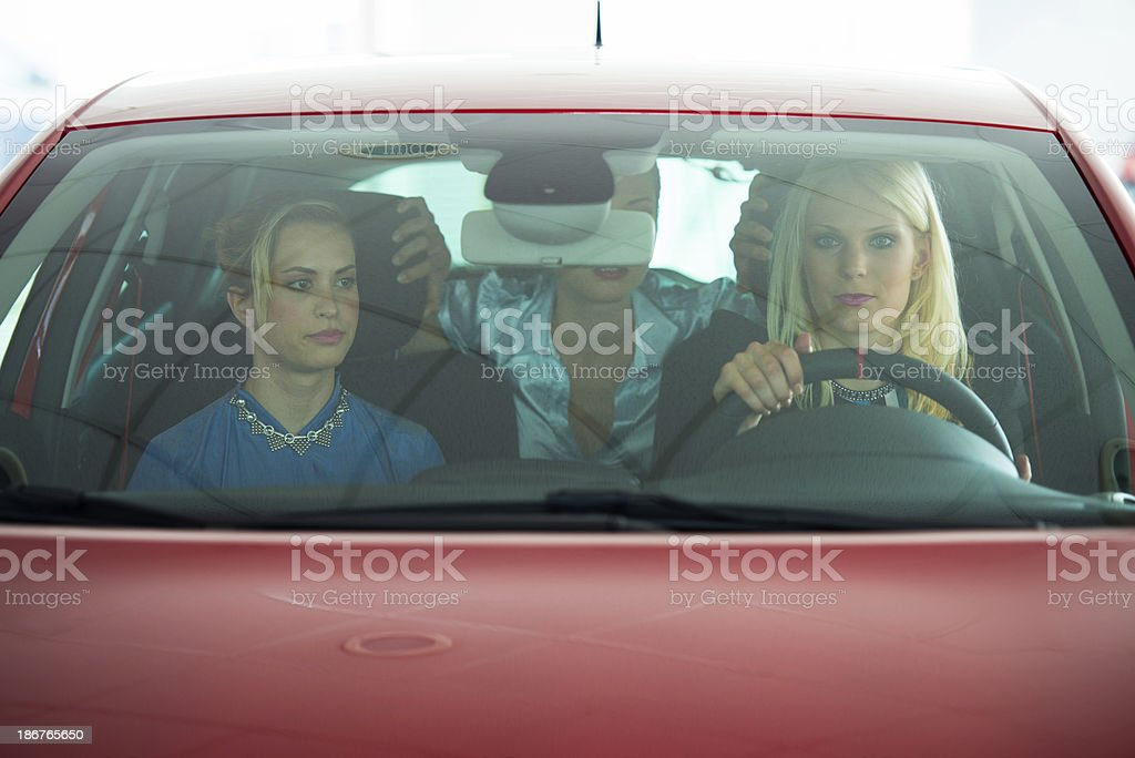 Checking car in a showroom royalty-free stock photo