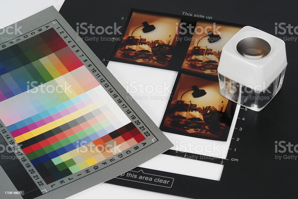 Checking Colour Slides royalty-free stock photo