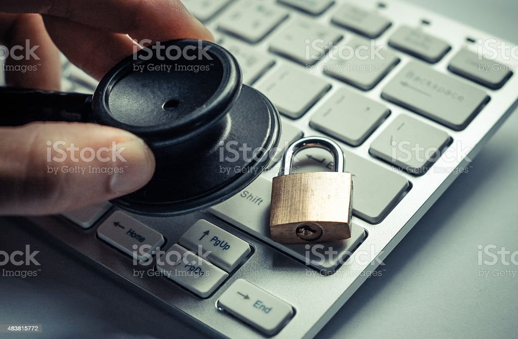 Checking computer security system stock photo