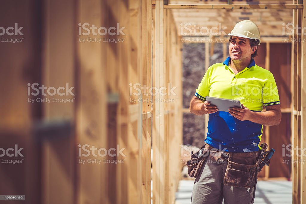 Checking Construction Site stock photo