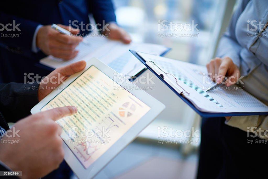 Checking data stock photo