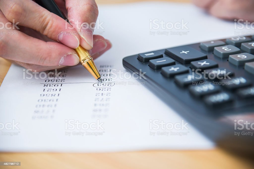 checking document stock photo