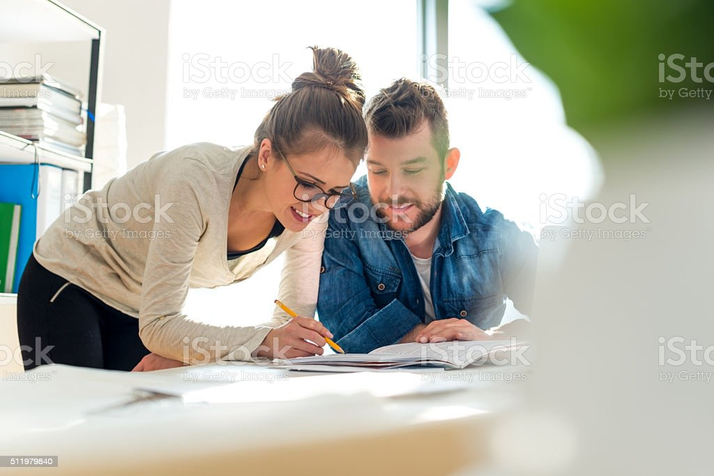 Checking documents stock photo