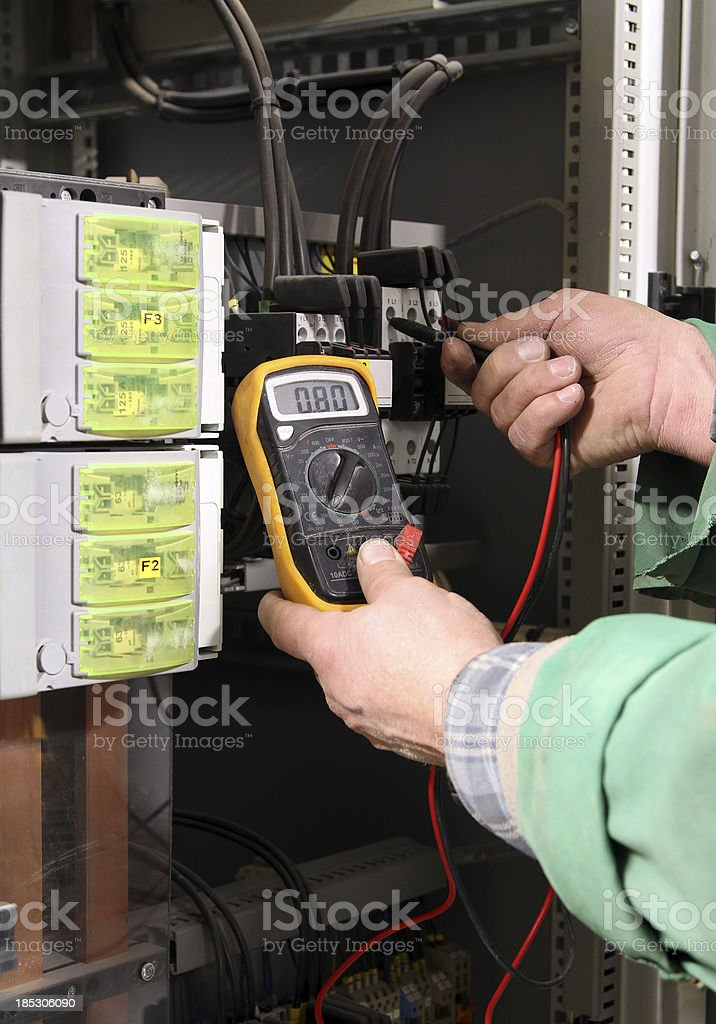 Checking electrical resistance royalty-free stock photo