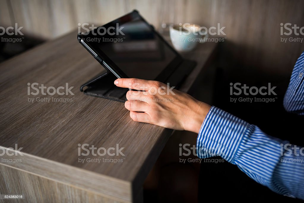 Checking e-mail on a coffee break stock photo