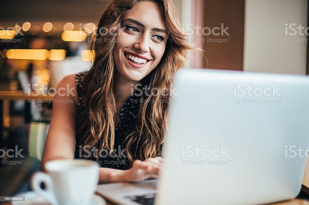 Checking e-mail stock photo