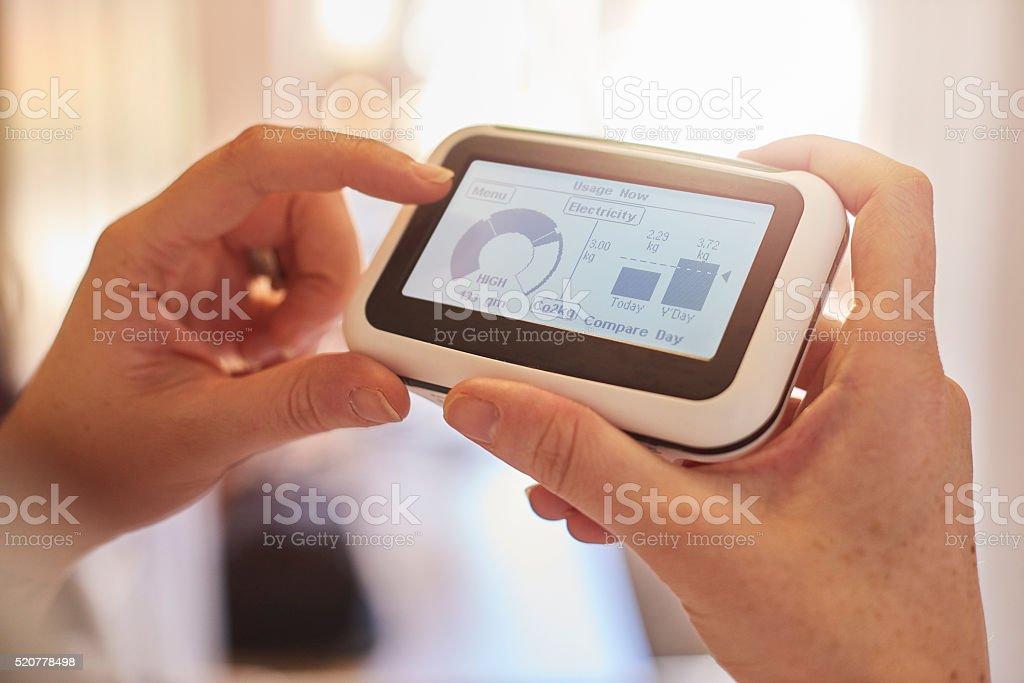 Checking energy consumption stock photo