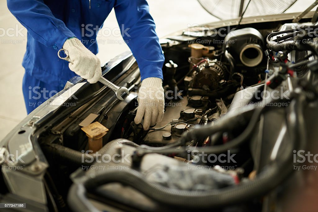 Checking engine stock photo