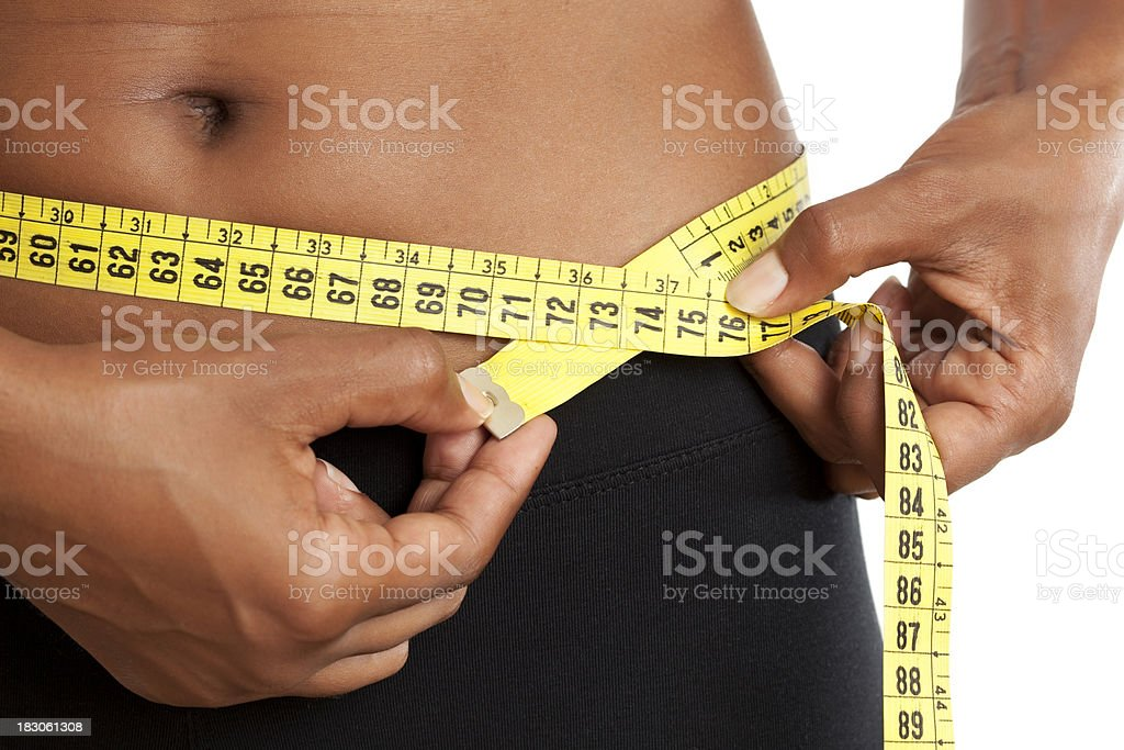 Checking fitness results. stock photo