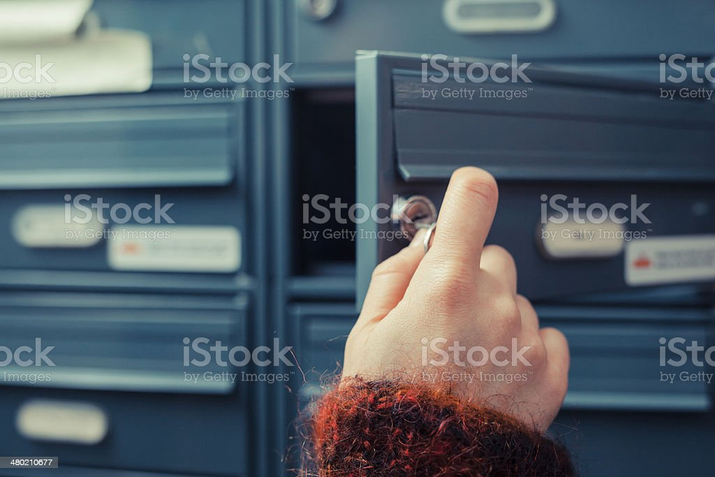 Checking for mail stock photo
