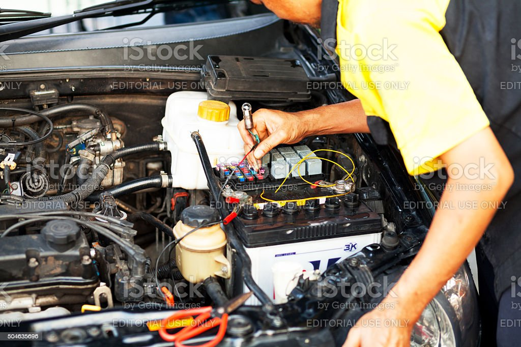 Checking fuses of car stock photo
