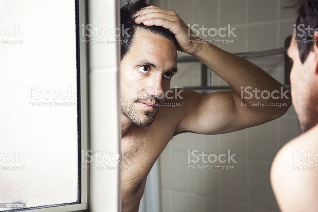 Checking Hairline stock photo