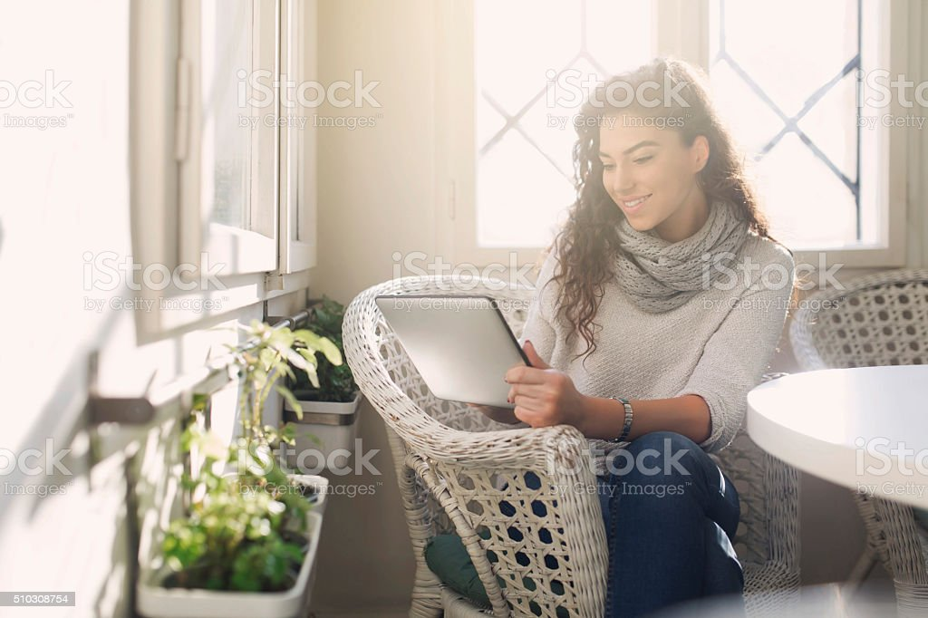 Checking Her E-Mails stock photo