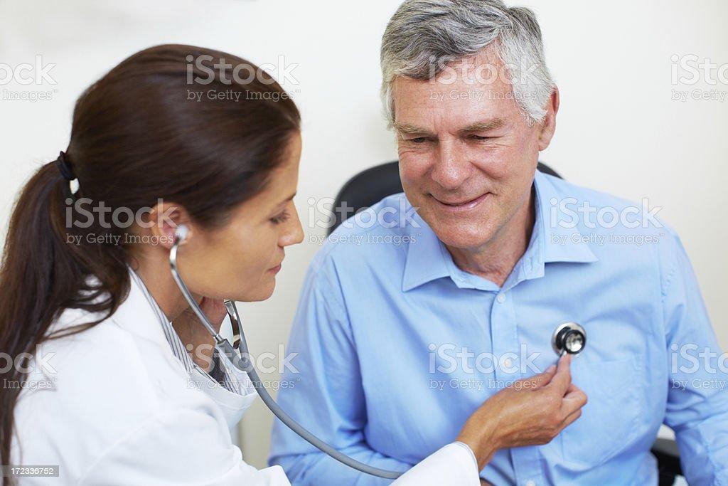Checking his cardiovascular health stock photo