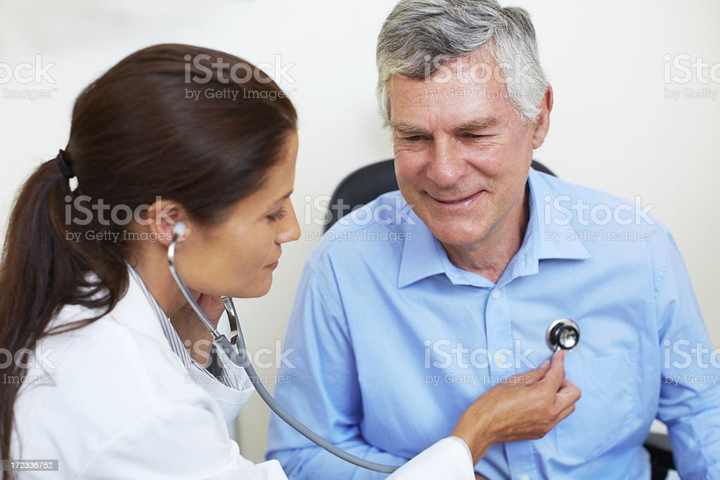 Checking his cardiovascular health stock photo