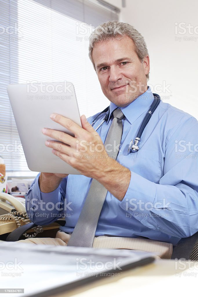 Checking his day's appointments royalty-free stock photo