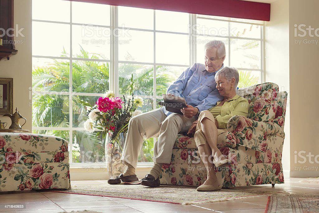 checking images of the grandsons stock photo