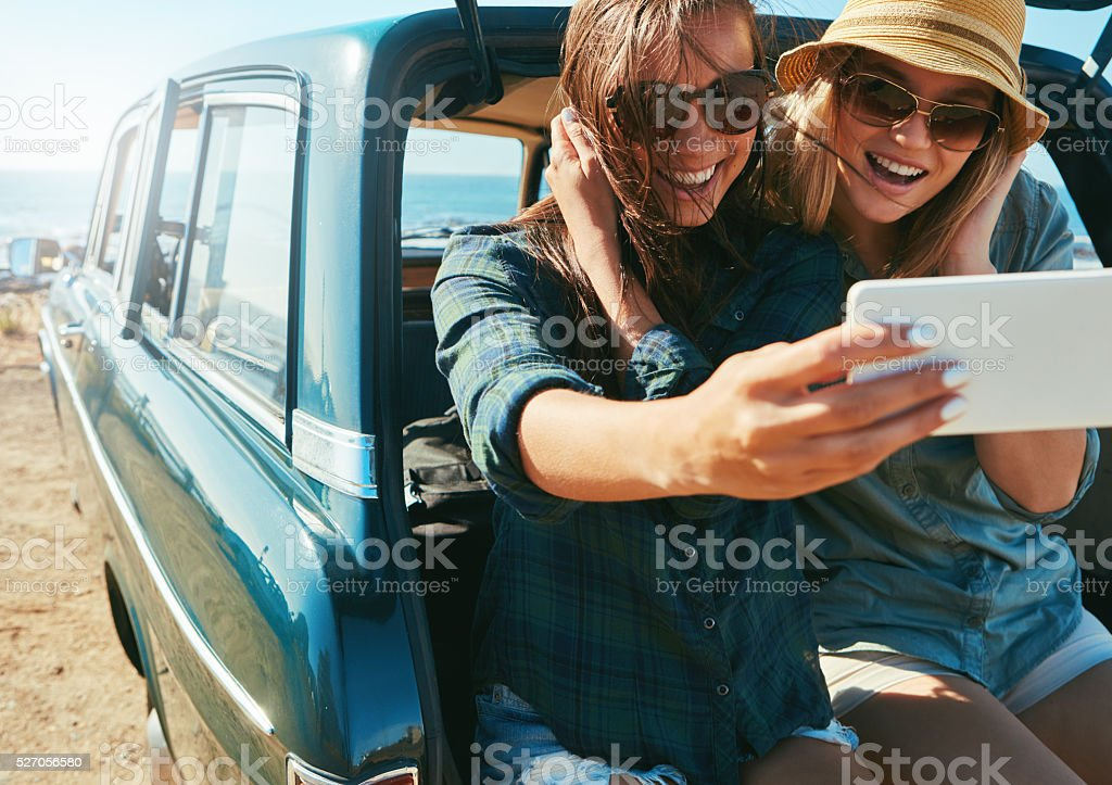 Checking in: At the beach! stock photo