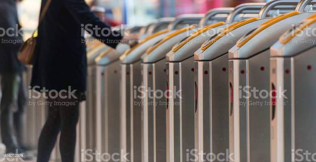 Checking in for public transport stock photo