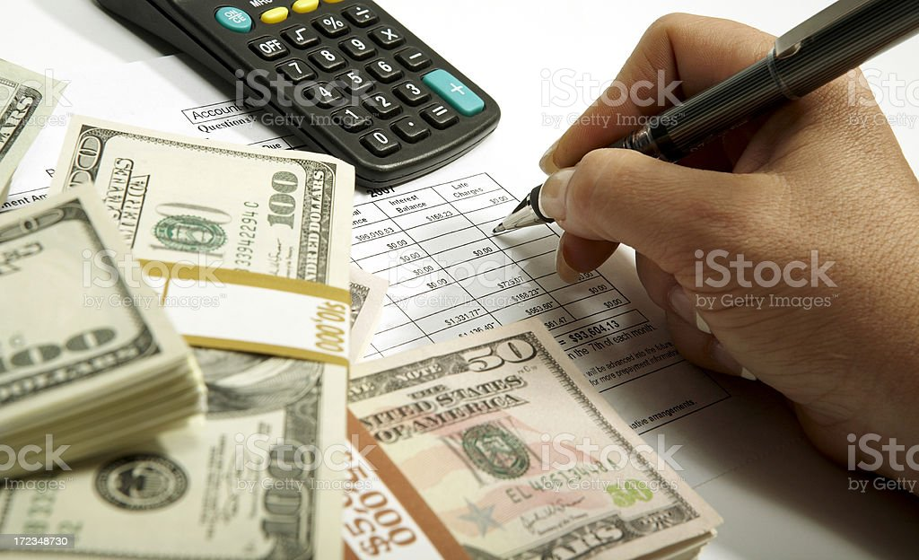 Checking Loan Papers royalty-free stock photo
