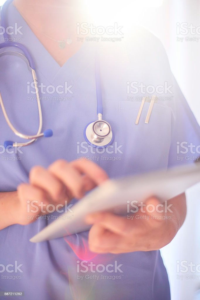 Checking medical records stock photo