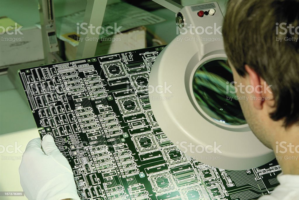 Checking micro chip royalty-free stock photo
