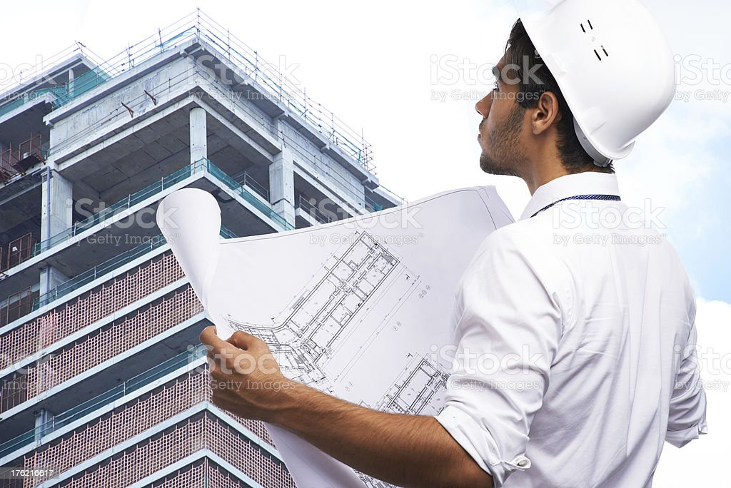 Checking new building royalty-free stock photo
