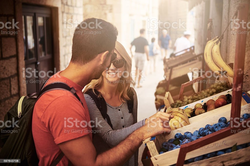 Checking out the local markets stock photo