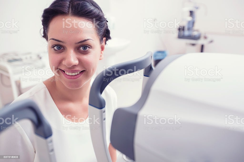 Checking patient's sight in hospital stock photo
