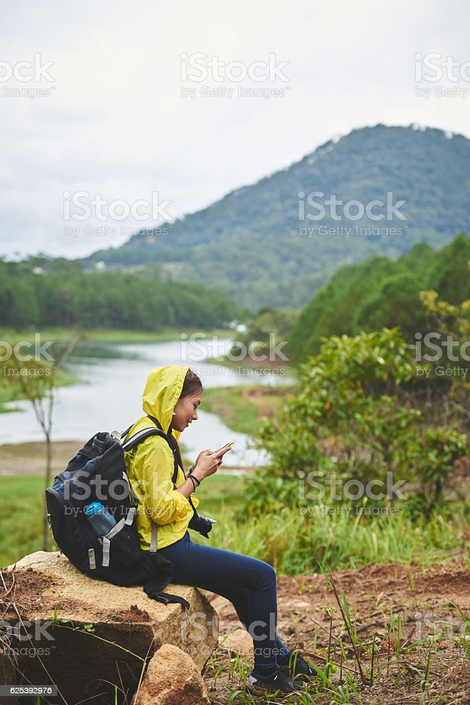 Checking phone stock photo