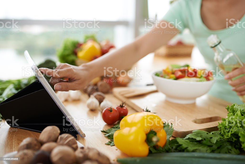 Checking recipe stock photo