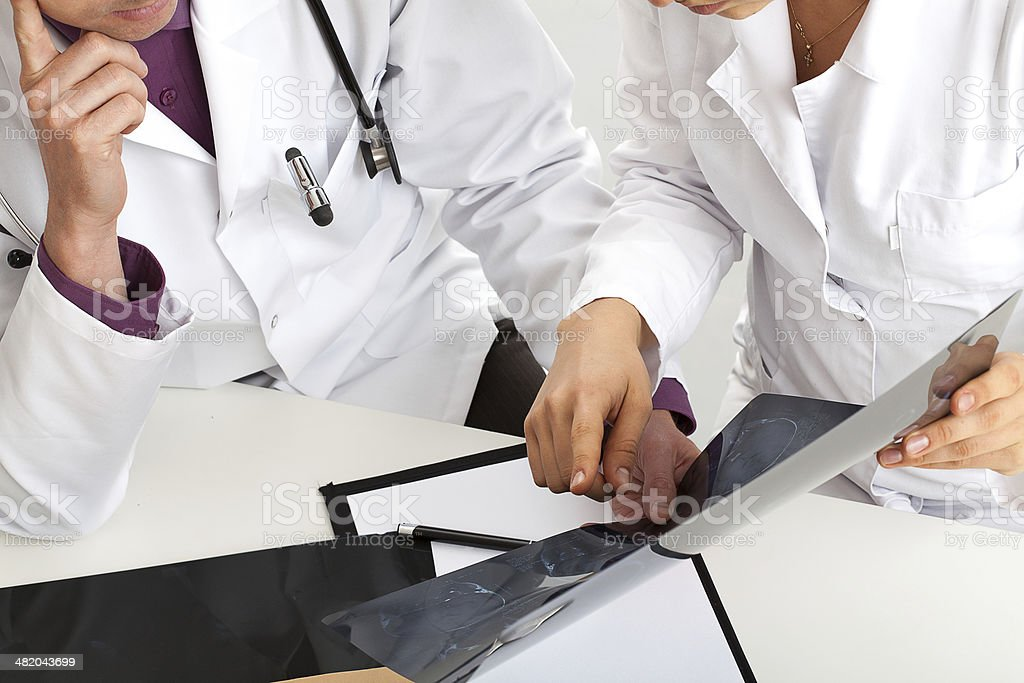 Checking results of x-ray stock photo