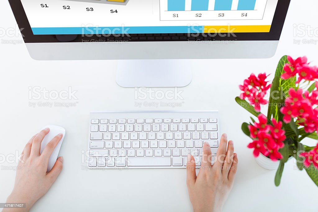Checking sales report in the office royalty-free stock photo