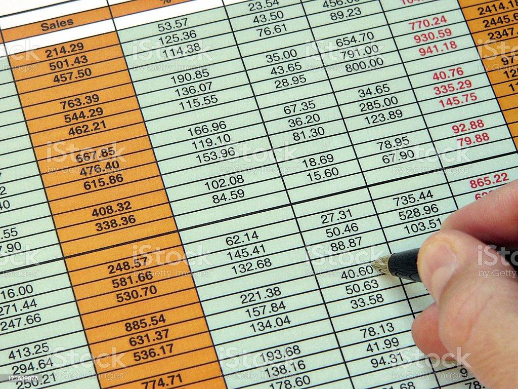 Checking spreadsheet stock photo