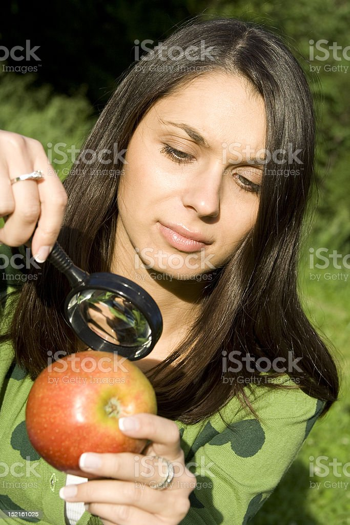 Checking the apple on natural royalty-free stock photo