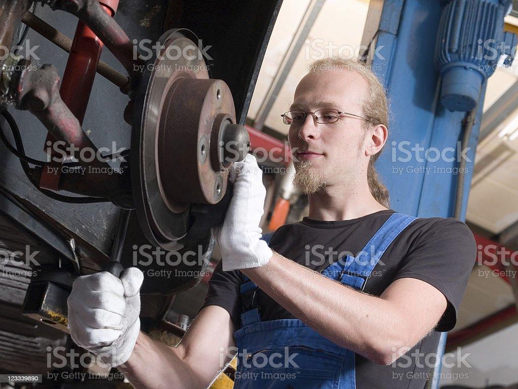 Checking the brakes stock photo