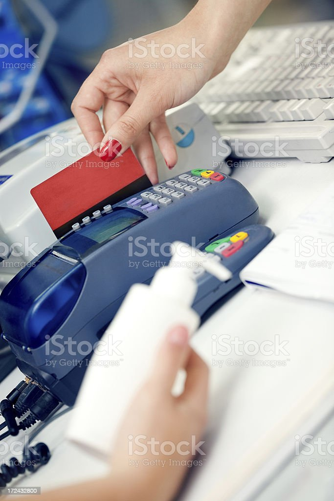 Checking the Credit Card royalty-free stock photo