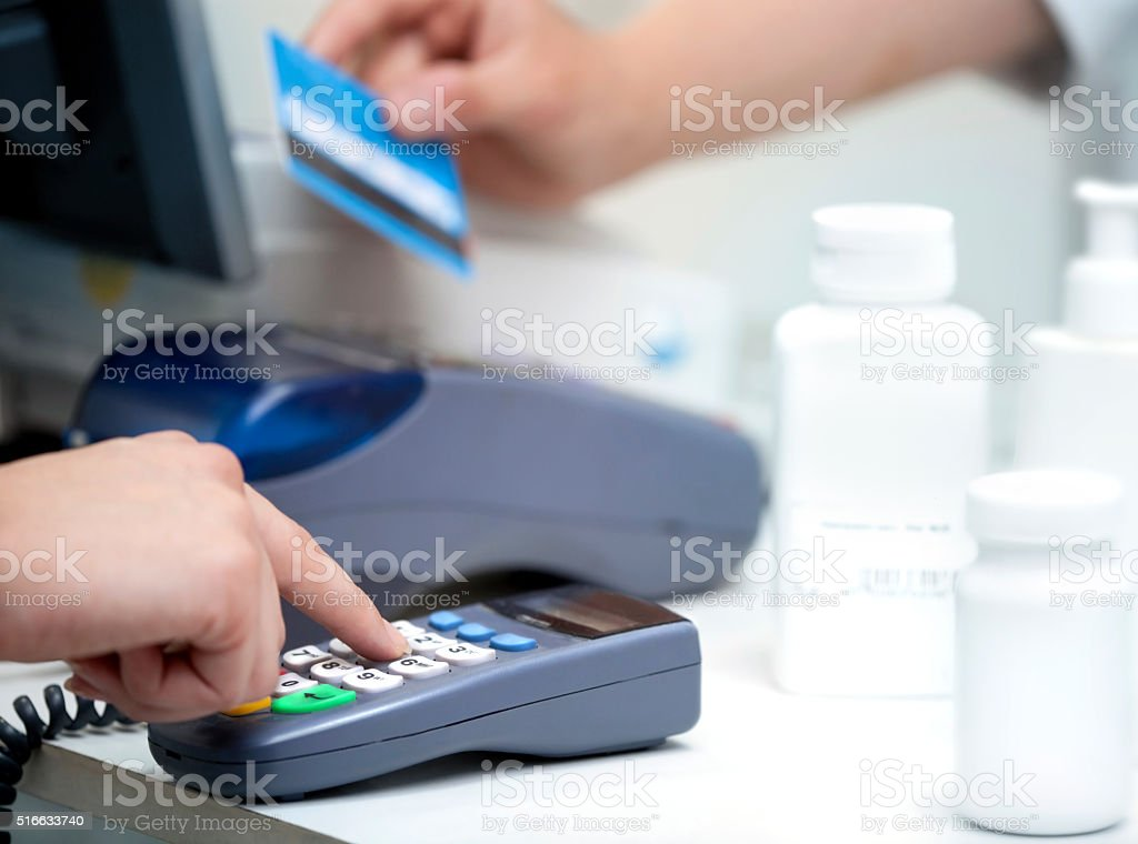 Checking the Credit Card stock photo