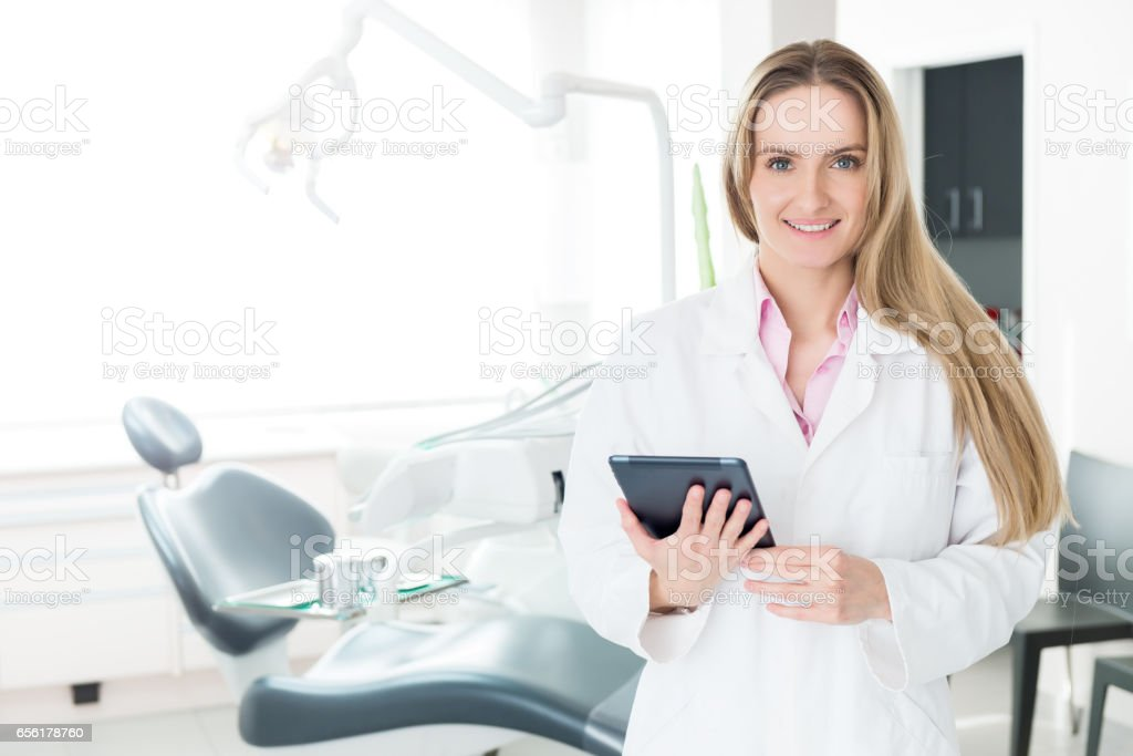 Checking the dental report stock photo