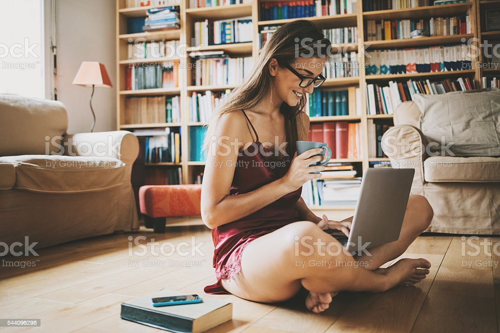 Checking the e-mail in the morning stock photo