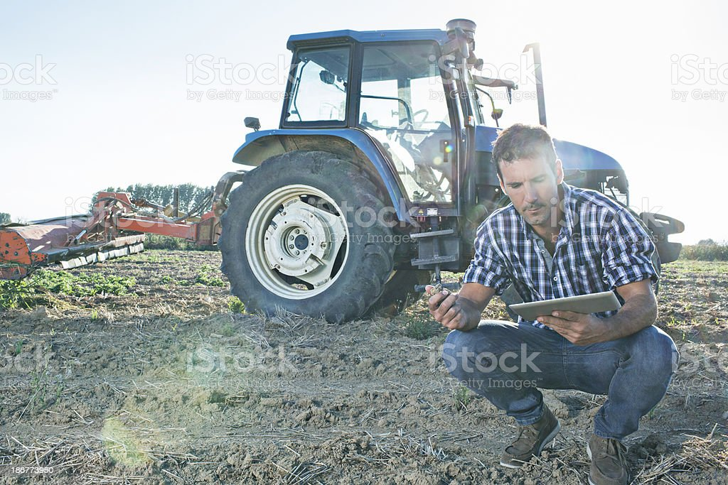 Checking the field royalty-free stock photo
